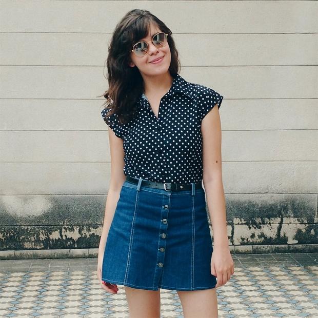 Blog Bruna Nobre: Look saia jeans de botão + camisa de poá
