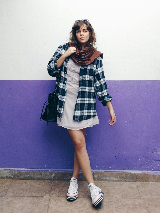 Blog Bruna: look flanela e vestido